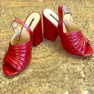 NWOT ZARA Red Quilted Leather Slingback Heels